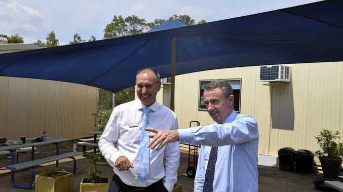 NEW WORK: Clarence Valley Anglican School principal Martin Oates and Federal Member for Page Kevin Hogan take a look at the site for the new amenities block.