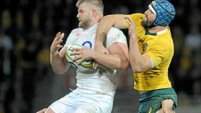 George Kruis of England wins a line-out against Scott Fardy of the Wallabies in June.