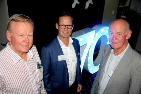 THREE GENERATIONS: Hall Contracting managing director Cameron Hall with his father Brian and uncle Peter at the firm's recent 70th birthday celebrations
