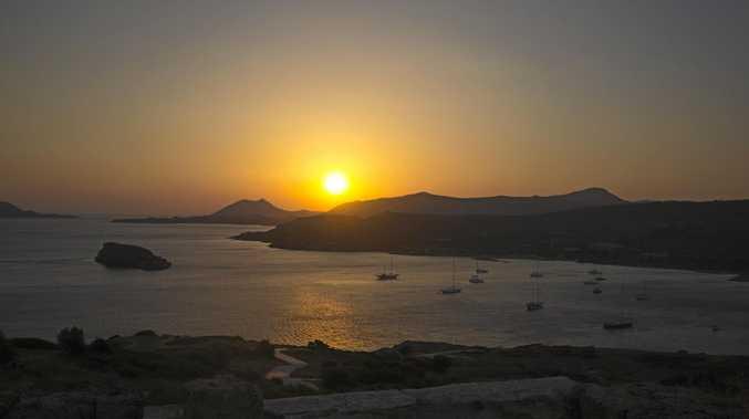 Cape Sounio, Greece, at sunset.