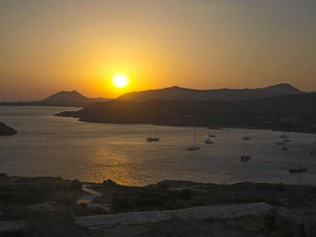 Cape Sounio, Greece, at sunset.