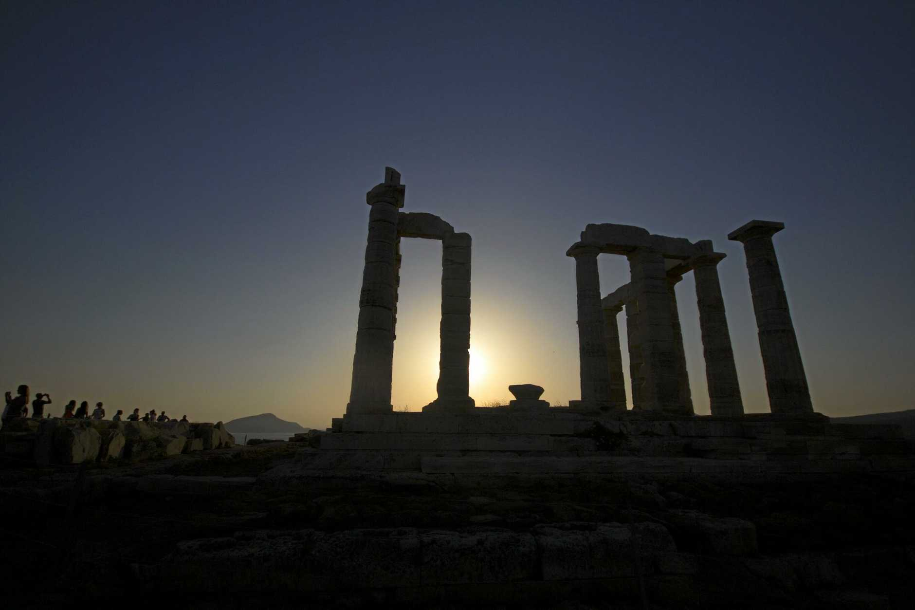 Poseidon's Temple on Cape Sounio in Greece and, top right, Cape Sounio at sunset and Serifos Island in June.