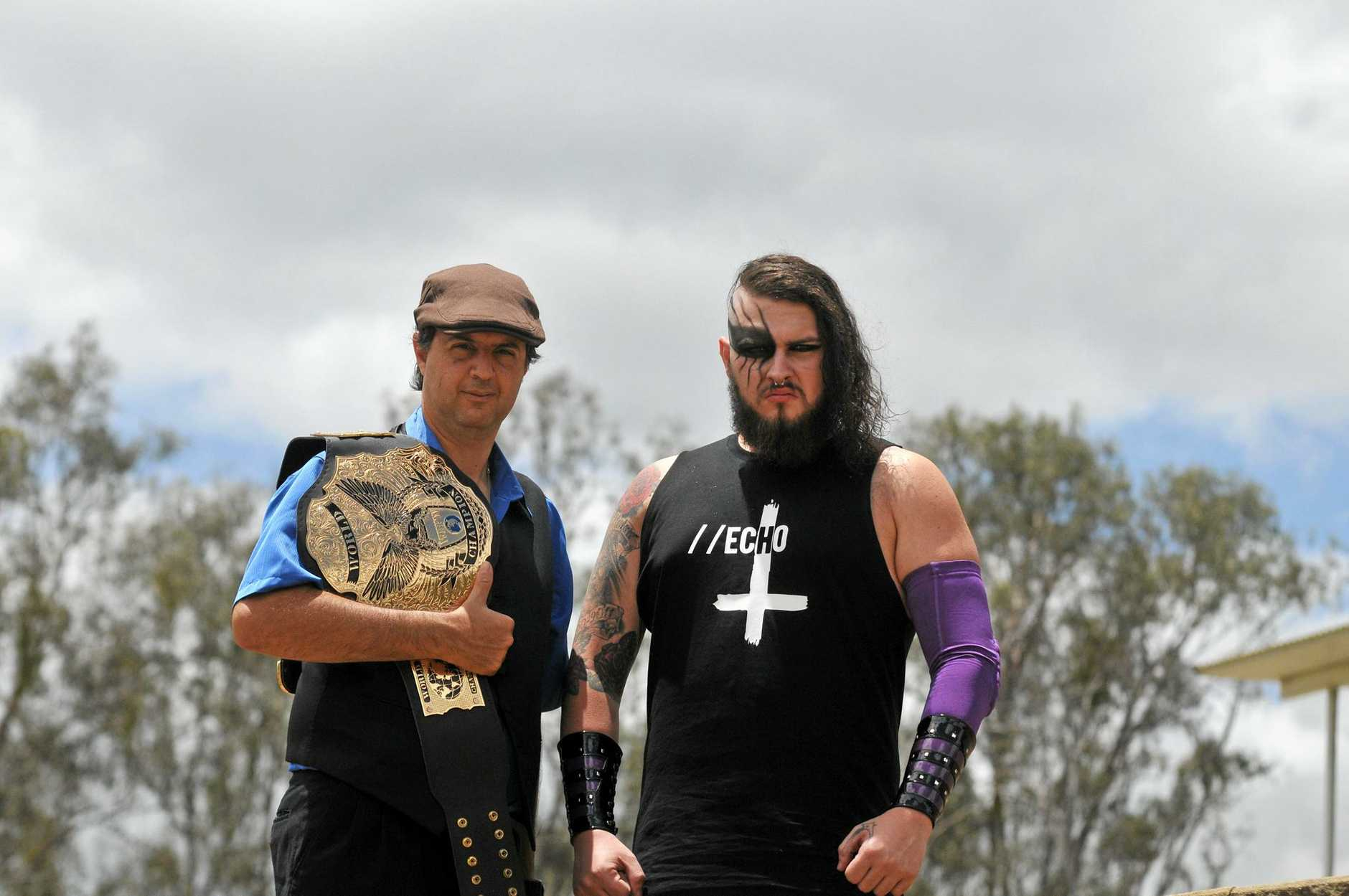 SMACK DOWN: Anthony 'The Bull' Romano (aka Anthony Puleo) holds the title belt while Casey 'Echo' Eichmann is looking to impress in his debut match.