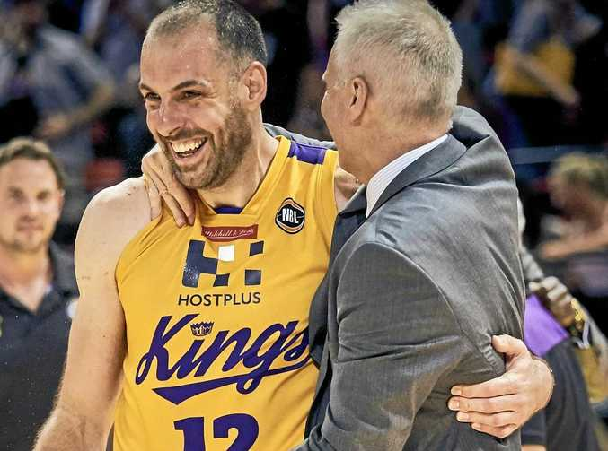 Sydney Kings player Aleks Maric and coach Andrew Gaze.
