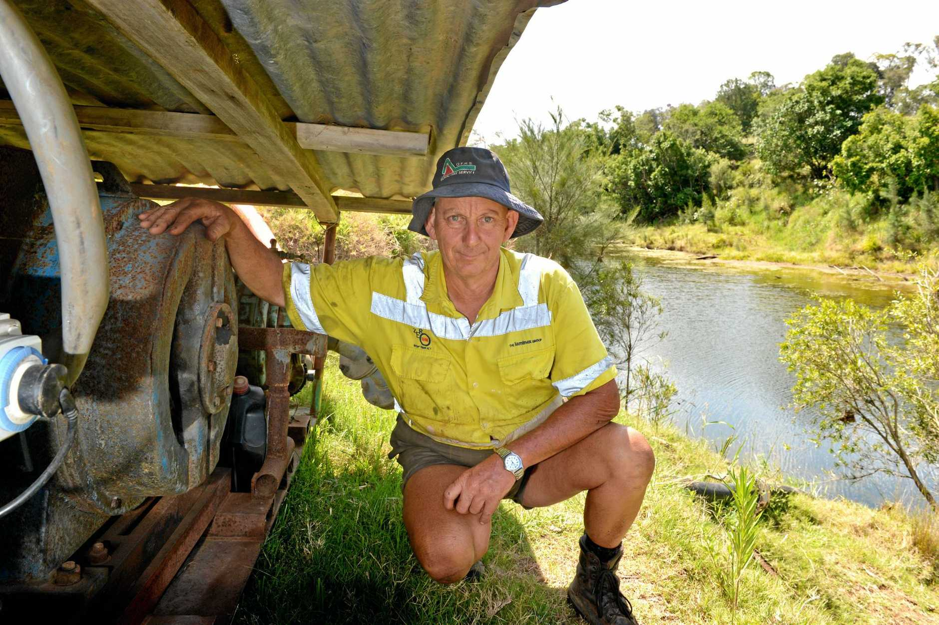 Peter Beattie at his Lagoon Pocket property where he pumps water from the Mary river.