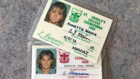NEVER FORGOTTEN: Murdered Toowoomba teen Annette Jane Mason's school identification cards.