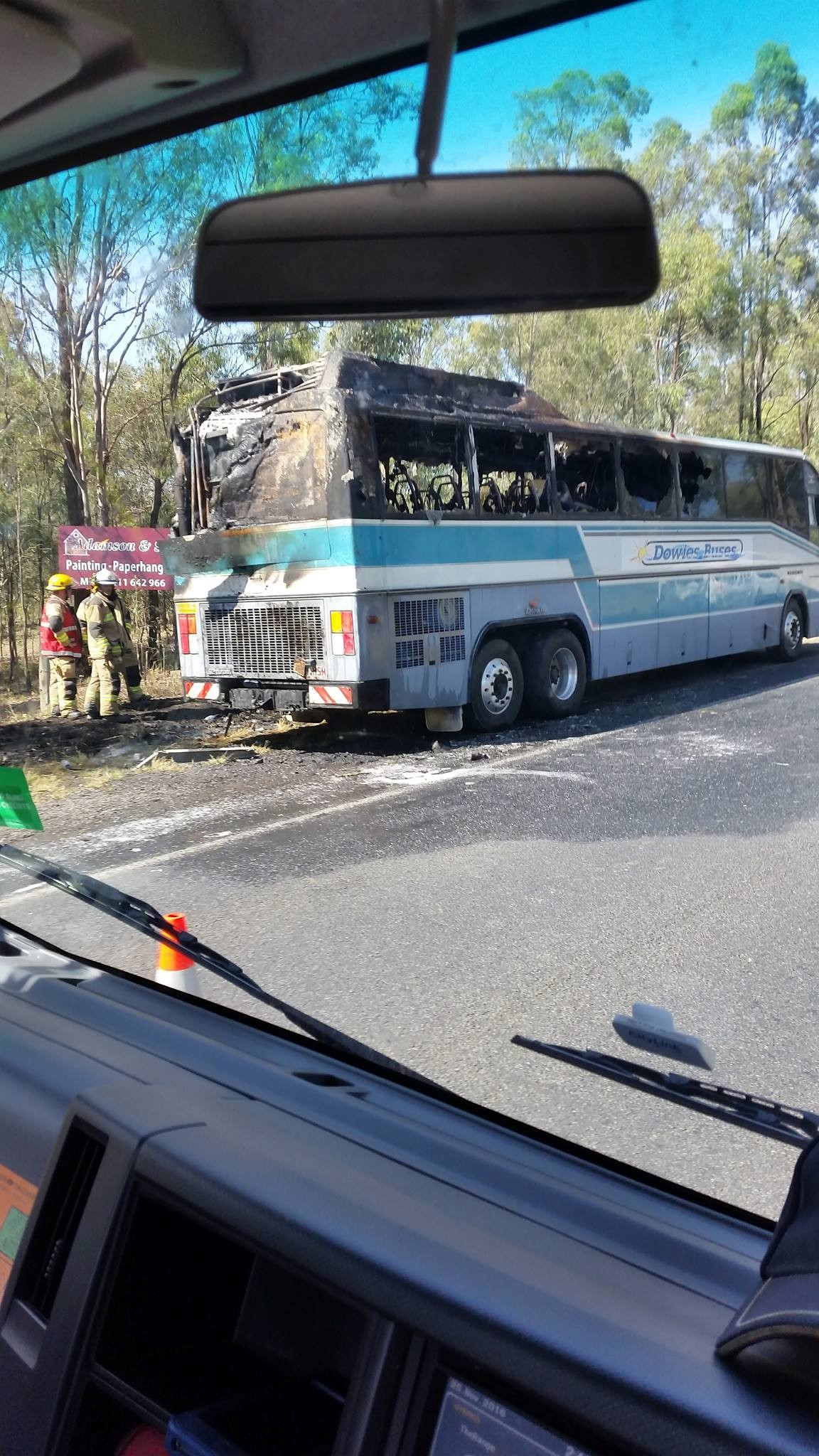 The bus after the fire was put out. Photo: Elisha Schulz.
