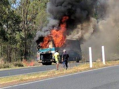 The bus burst into flames. Photo: Facebook/Hayley Brown