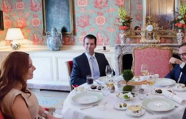 Donald Trump Jr at a meeting last month with Randa Kassis Facebook