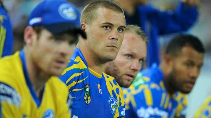Eels' Danny Wicks seen on the bench during the Round 2 NRL match between the Canterbury-Bankstown Bulldogs and the Parramatta Eels at ANZ Stadium in Sydney, Friday, March 13, 2015. (AAP Image/Joel Carrett) NO ARCHIVING, EDITORIAL USE ONLY