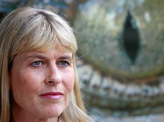 13/04/10         190541 Terri Irwin irwin talks to media about the Steve Irwin Wildlife Reserve being attacked by mining. Photo: Cade Mooney Sunshine Coast Daily