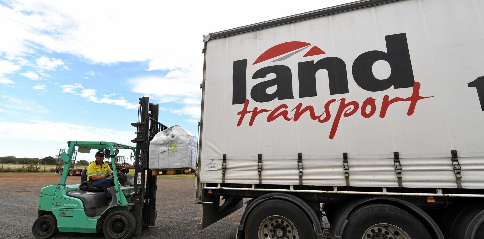 LOADING UP: Justin Ross at Land Transport's new location in Bundaberg.