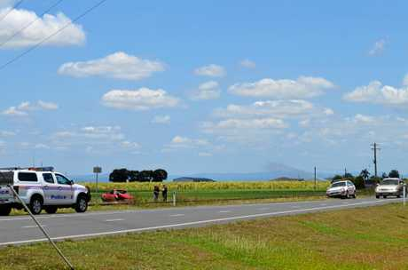 The scene of a car crash on Mackay-Eungella Rd near Pleystowe Connection Road, Balnagowan