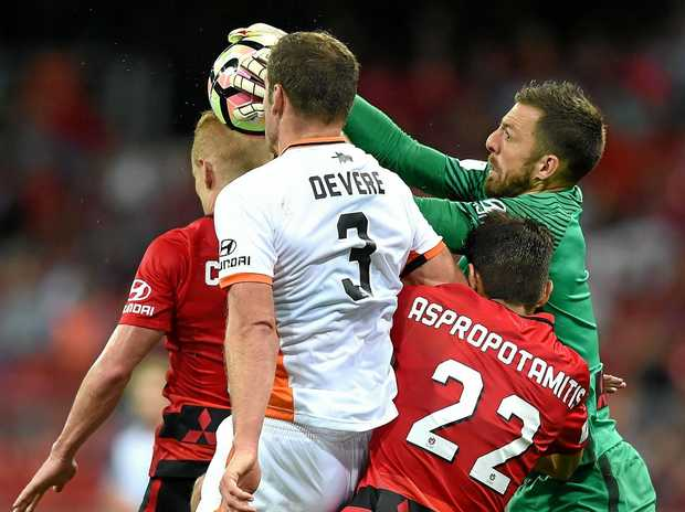 IN ACTION: Jerrad Tyson makes a save during the round 8 A-League match between the Western Sydney Wanderers and Brisbane Roar at Spotless Stadium on Friday night.
