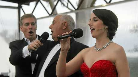 Ballandean Estate's Angelo Puglisi takes to the stage with David Hobson and Katie Stenzel for Opera in the Vineyard.