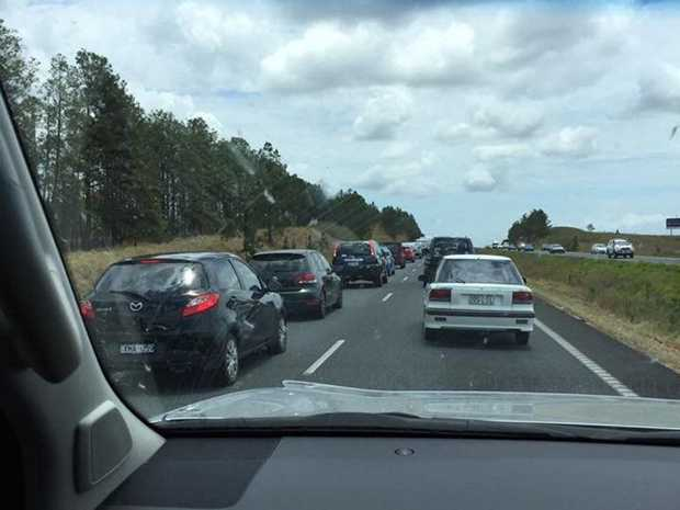 STANDSTILL: Traffic has ground to a halt northbound on the Bruce Hwy past Bells Creek Rd.