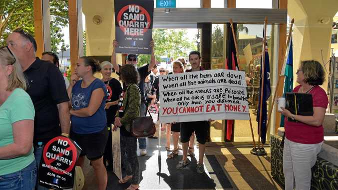 OPPOSED: Sand mine opponents attend the Nambour Council Chambers in October when the proposal was refused.
