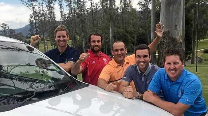 The Grafton Golf Club team of Trent Dickson, Scott Lloyd, Matt Katon and Ben Austin with Bonville pro Richie Gallichan.