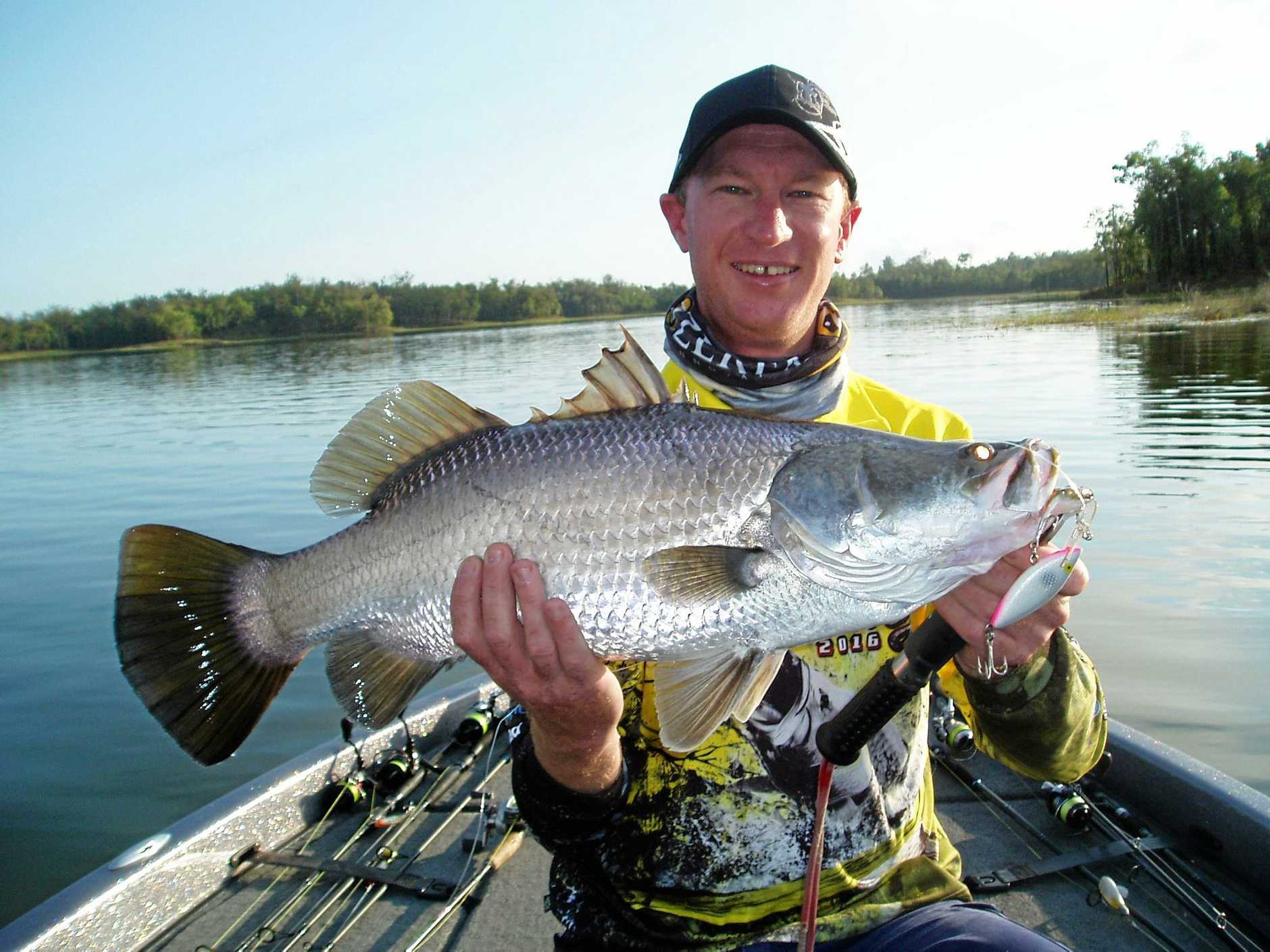 Fitzroy Phoenix's Nathan Anderson with a winning Barra on Teemburra.