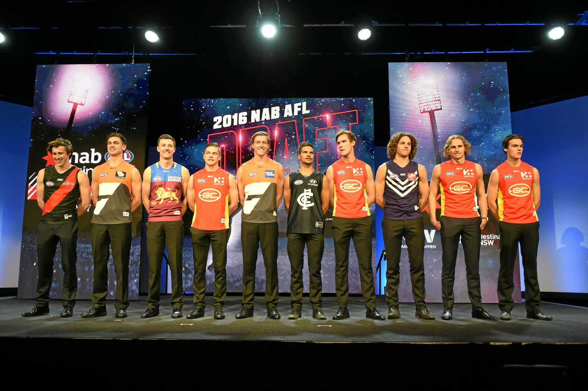The top 10 draft picks presented during the AFL draft in Sydney.