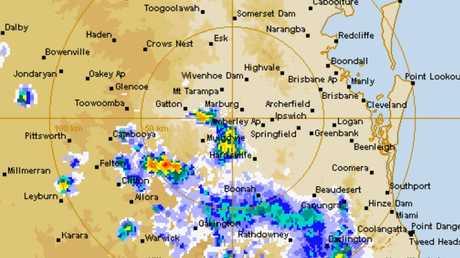 An image from the 128 km Brisbane (Marburg) Radar Loop.