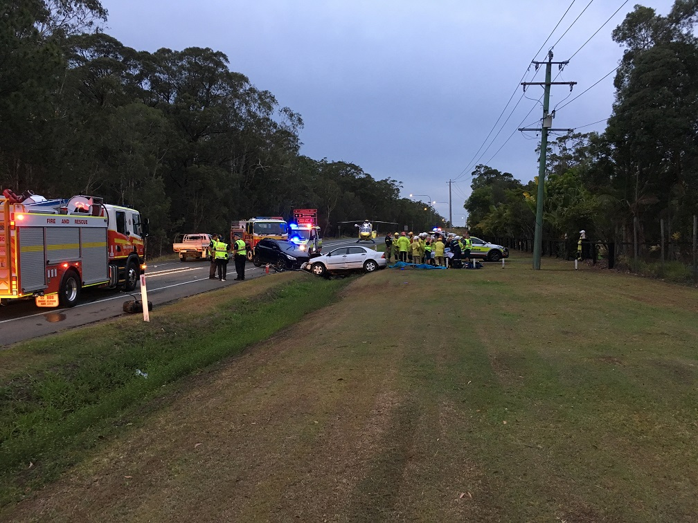 The scene of a horrific fatal car crash at Landsborough. Photo Careflight