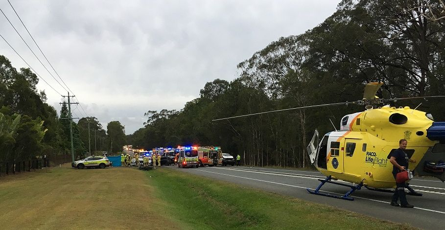 The fatal crash at Landsborough that claimed the life of one Coast woman. Photo Careflight