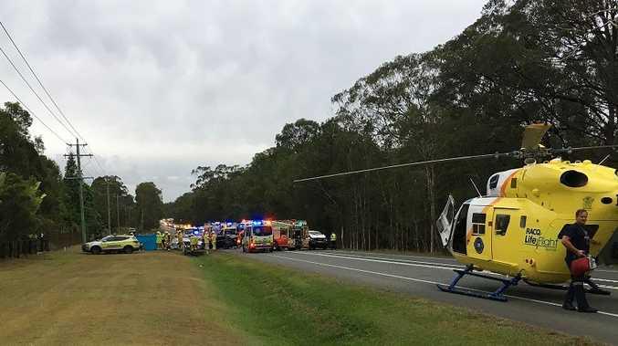 The fatal crash at Landsborough that claimed the life of one Coast woman. Photo Careflight