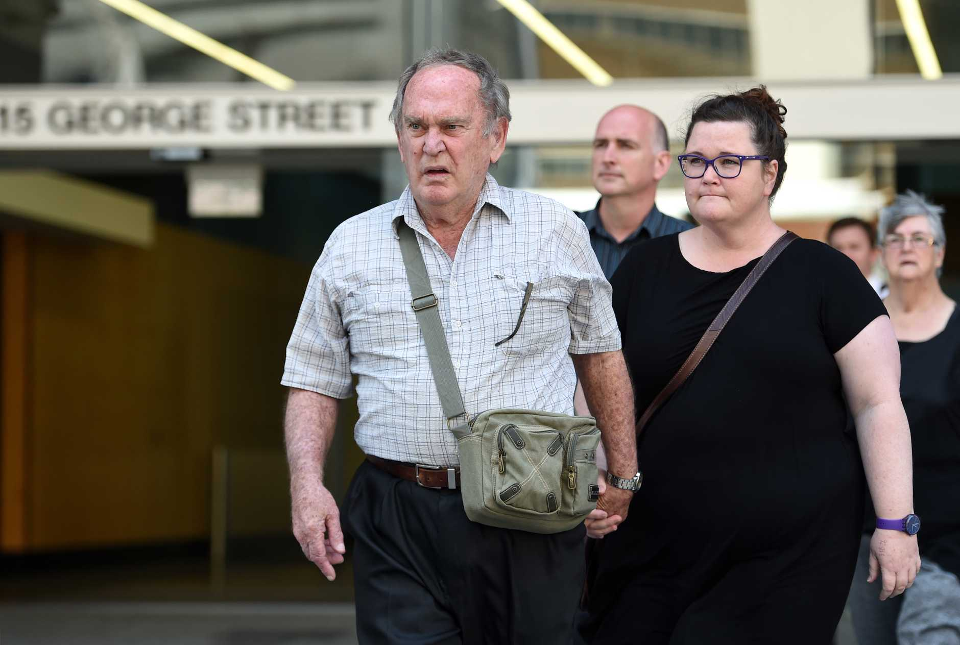 Graham Ogden, brother of Barbara McCulkin, leaves the Supreme Court in Brisbane, Monday, Nov. 28, 2016. Garry Dubois has been found guilty of the 1974 murders of sisters Vicki and Leanne McCulkin and the manslaughter of their mother, Barbara.