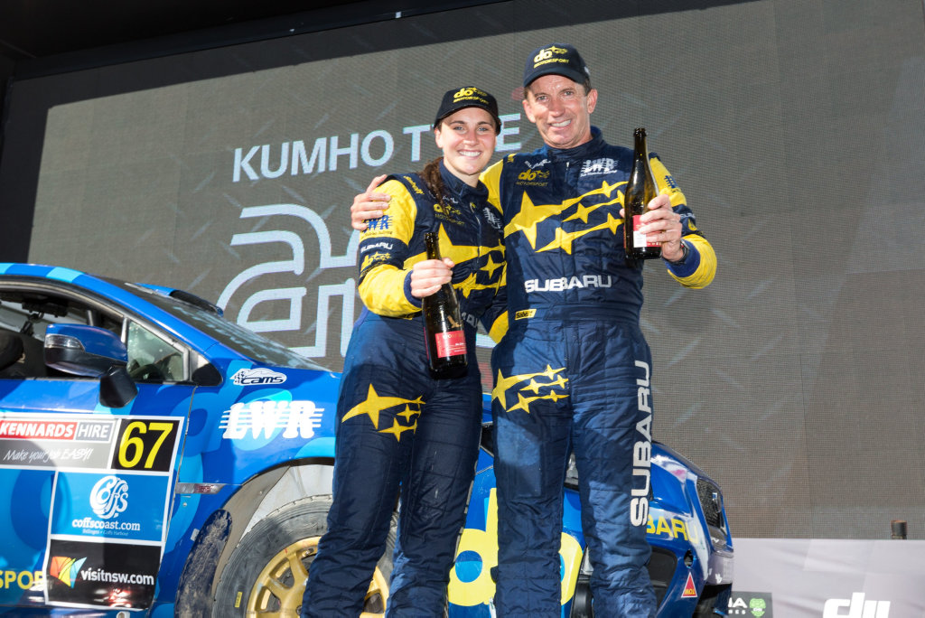 Subaru do Motorsport driver Molly Taylor triumphant at the 2016 Kennards Hire Rally Australia