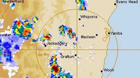 Three distinct storm cells loom according to Bureau of Meteorology rainfall data near Grafton at 4.20pm on Monday, 28th November, 2016.