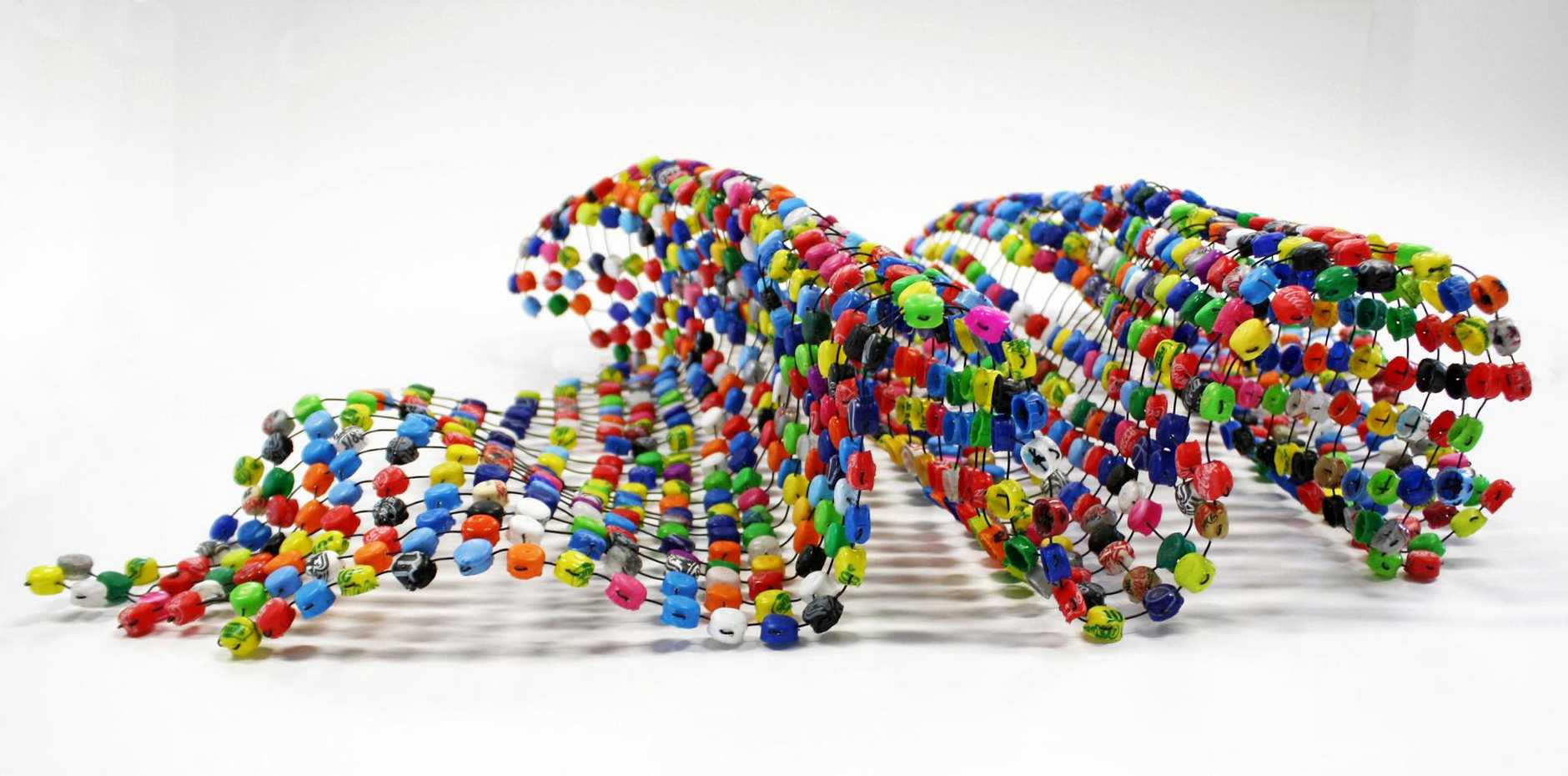 ENVIRONMENT AT HEART: Trickle, 2013: Up-cycled plastic lids, cable ties, and PVC by Alison McDonald.
