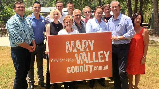 FROM LEFT: Cr James Cochrane, Cory Gale, Catherine Milne (Visit Sunshine Coast), Andrew Saunders, Julie Worth, Martin Duncan (Sunshine Coast foodie), Alan Rainbow (Honeybee Farm), Malcolm Oakley (Mary Valley Celebrates), Simon Latchford, Pete Cusack, Mayor Mick Curran and Heinke Butt (Mary Valley ArtsLINK) at the launch.