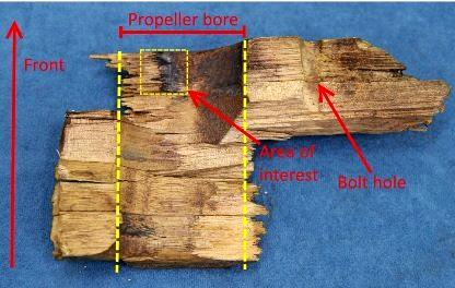 A diagram shows one of the timber fragments retrieved after the incident. The ATSB said it showed evidence of the propeller blade breaking away from the hub while under load.