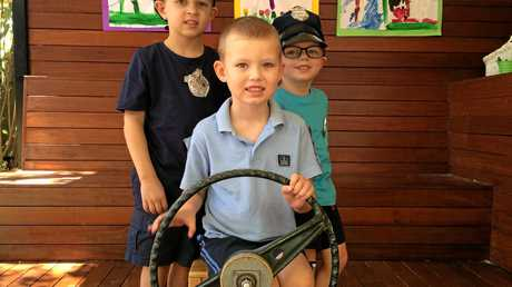 KIND HEARTS: Jett, William and Liam from C and K Inala Community Kindergarten were helping to raise money for the family of Manmeet Alisher, who was tragically killed while driving a Brisbane City Council bus in Moorooka.