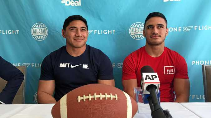 NRL Players Jason Taumalolo (left) and Valentine Holmes (Right) in Santa Monica, California.