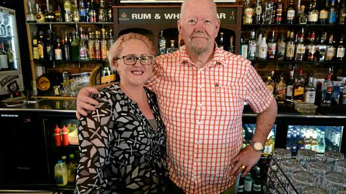 Megan Turnbull with her father-in-law Leigh Turnbull at the Criterion Hotel, Rockhampton.
