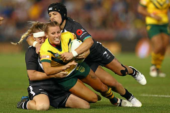 Samantha Bremner is tackled during the  Test match between the Australian Jillaroos and New Zealand Kiwi Ferns at Hunter Stadium in May.