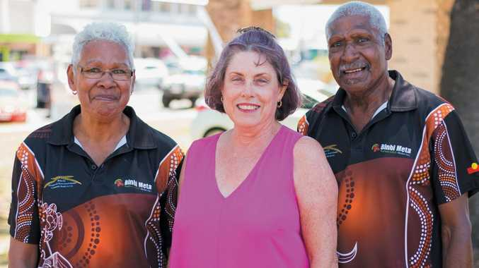 Cr Jan Kelly with husband and wife team Aunty Marcia and Uncle Poy Pensio from Bidgerdii Community Health Service at the Binbi Meta Family Gathering in Beaman Park last week.