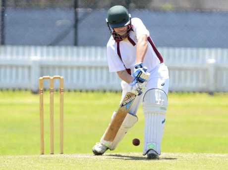 Jackson Grieve batting for Clarence River in the Under-16 match against Nambucca-Bellingen at Ellem Oval in round two of North Coast Cricket Council's 2015/16 Junior Inter-District Competition. Photo Bill North / Daily Examiner