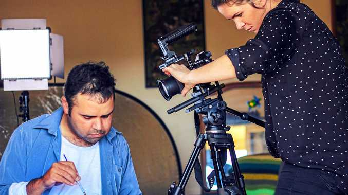 DOCUMENTARY: Behind the scenes of Createability short film Corey the Warrier are Yuin/Bundjalung man and painter Corey Stewart and filmmaker Isabel Darling.