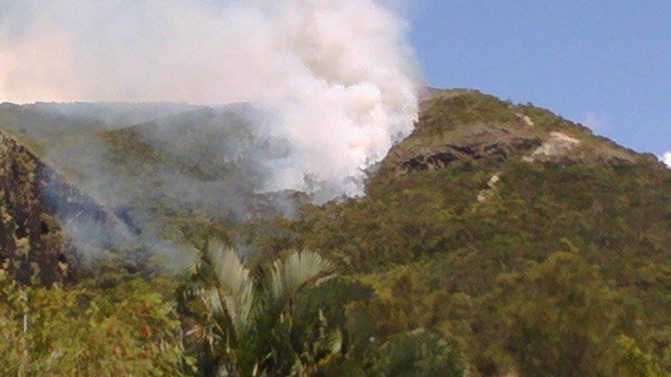 Smoke is billowing from Mount Coolum as firefighters and rangers battle the blaze.