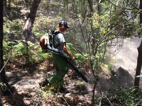 A Queensland parks and wild life service officer uses a leaf blower to clear a break at the rear of homes.