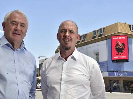 A tte launch of the new electronic sign in the CBD, TRC Mayor Paul Antonio (left) and Bishopp chief executive officer Brad Bishopp. November 29, 2016