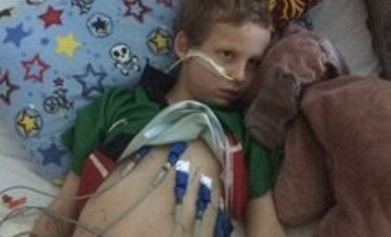 SURVIVOR: Little Griffith Comrie is recovering after a stroke left him paralysed for weeks.