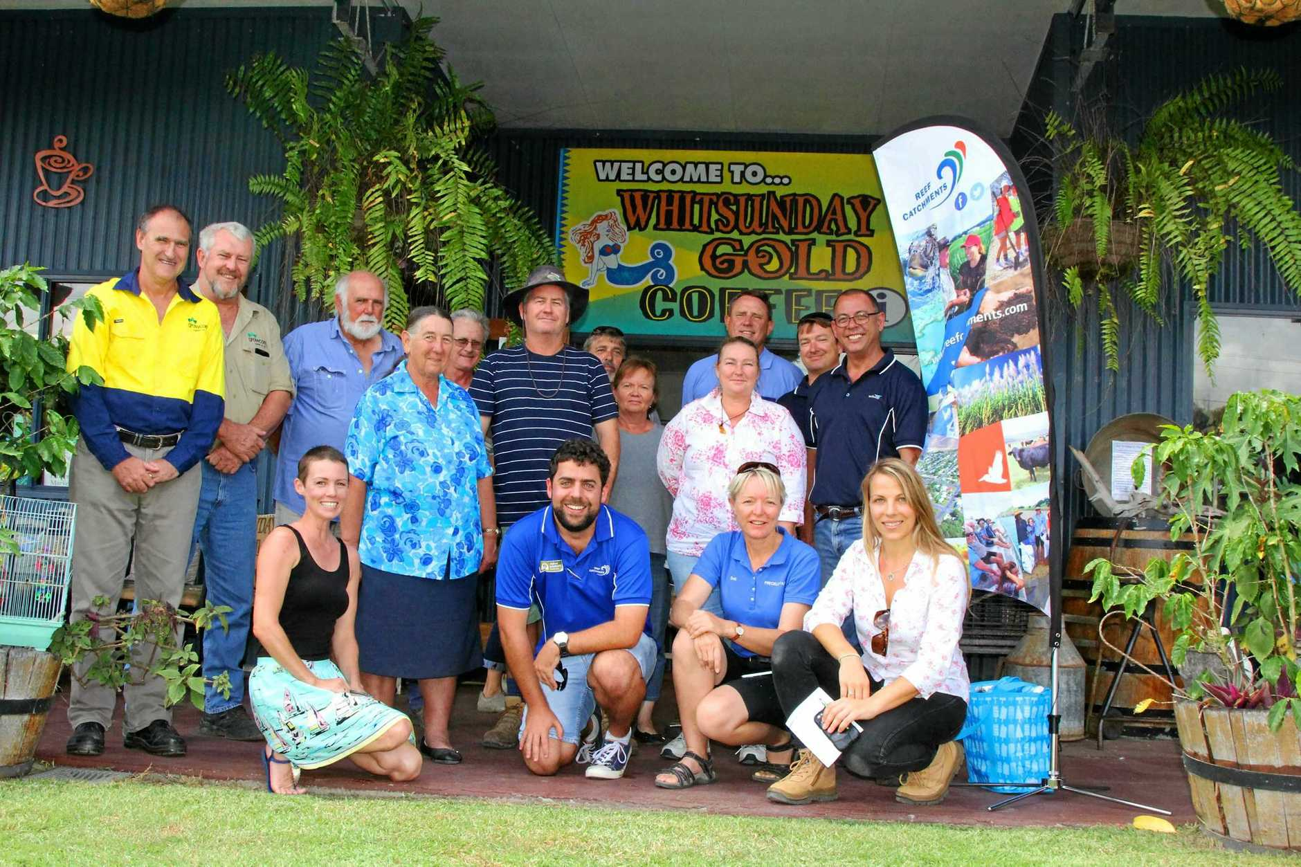 Julia Kasiske and Jacob Betros from Reef Catchments with Horticulture Field Day participants, Mary and Ken Ede, Steve Tiley, Mark Blair, Jock Hansen, Luke Hargreaves, Brooke and Kerry Qualischefski, Tegan McBride, Deb McLucas, Graham Simpson Damien Baxter and Noel Wright at Whitsunday Gold Coffee on Tuesday.
