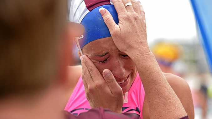 TEARS OF JOY: Lana Rogers of Noosa SLSC is overcome with emotion.