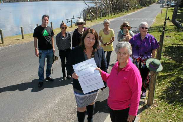 FINALLY: Lyn Walker, from the Lake Ainsworth Interest Group,  (front, right) meeting with State Member for Ballina, Tamara Smith, along with other supports earlier this year.
