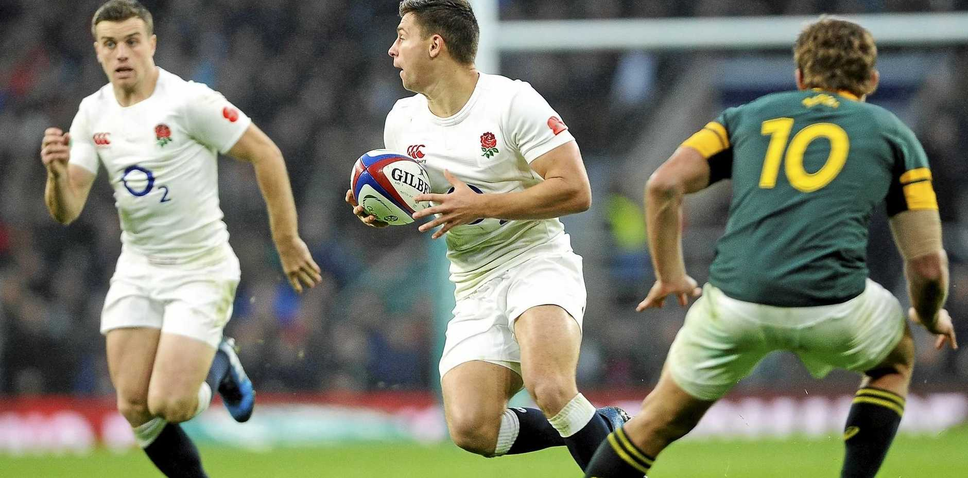 England's Ben Youngs looks to pass to George Ford in the Test against South Africa at Twickenham this month.