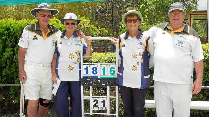 WINNERS:Don Waddell and Judy Adams (left) won the Lismore City mixed pairs championship final over Liz Turnbull and Les James. James and Turnbull had won the event on the previous three occasions.